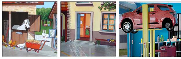 image des 3 livres de l'école, la ferme et garage de mademoiselle cartonne